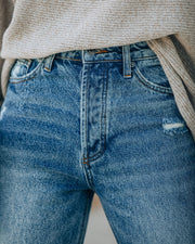 Curve High Rise Distressed Denim view 4