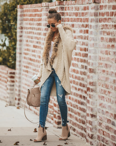 Buffy Faux Fur Cable Knit Cardigan