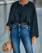 Libby Satin Billowed Crop Blouse - Black