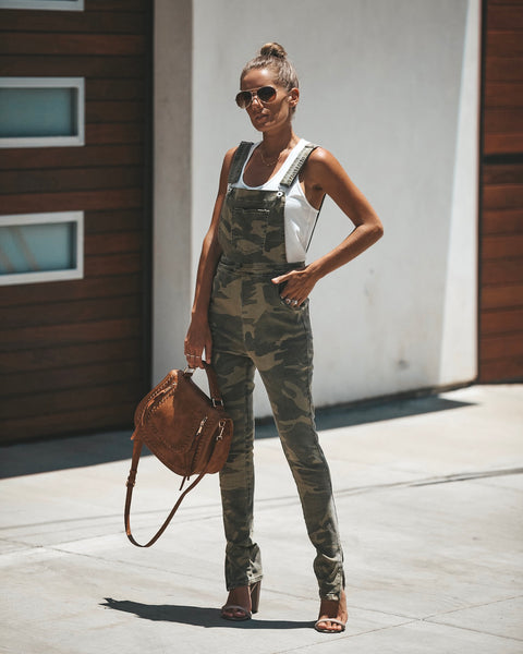 Rank & Style Pocketed Cotton Camo Overalls
