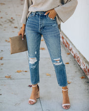 Curve High Rise Distressed Denim view 1