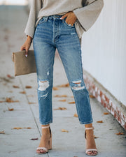 Curve High Rise Distressed Denim view 8