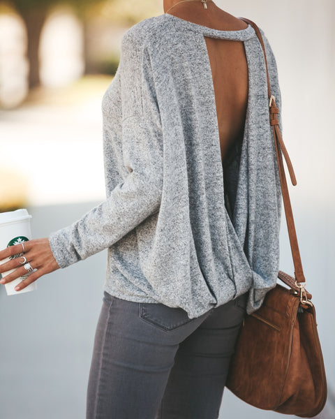 Follow My Lead Open Back Knit Top - Heather Grey