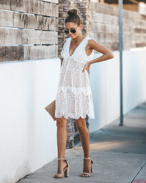 Take A Vow Tiered Crochet Lace Dress