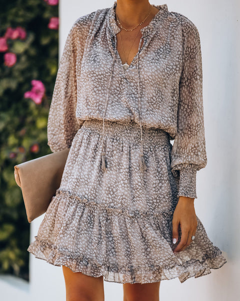 Saint Helena Printed Smocked Dress - Taupe
