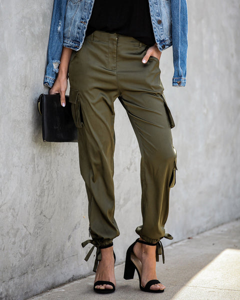 Brenden Pocketed Satin Cargo Pants - FINAL SALE