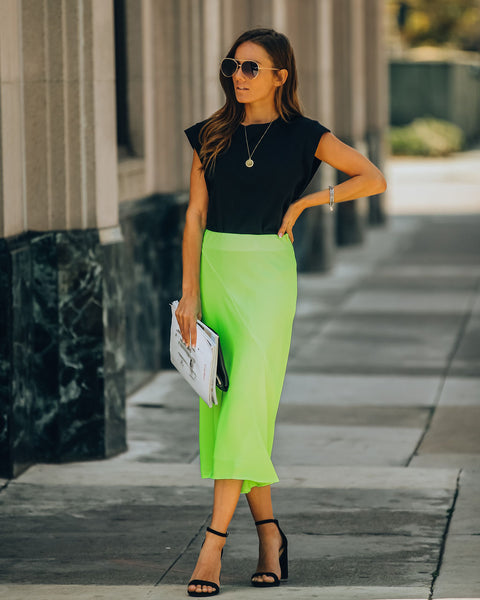 Chic As Ever Satin Midi Skirt - Neon Lime