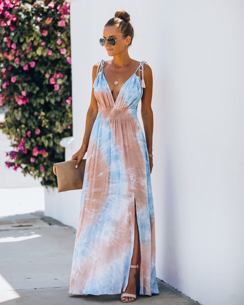 Callista Smocked Tie Dye Tassel Maxi Dress