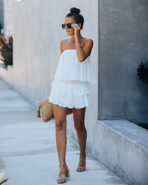 Balmy Strapless Smocked Backless Romper - Off White