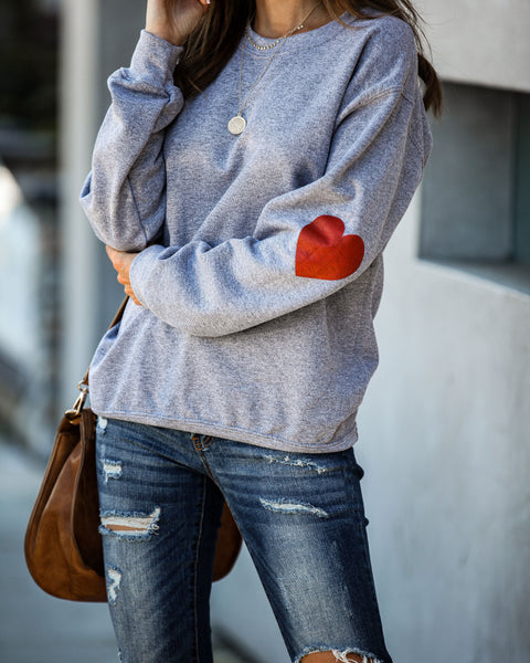 Heart On My Sleeve Cotton Blend Sweatshirt - FINAL SALE