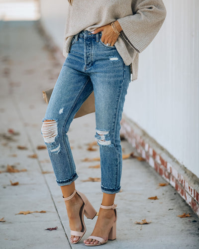 Curve High Rise Distressed Denim