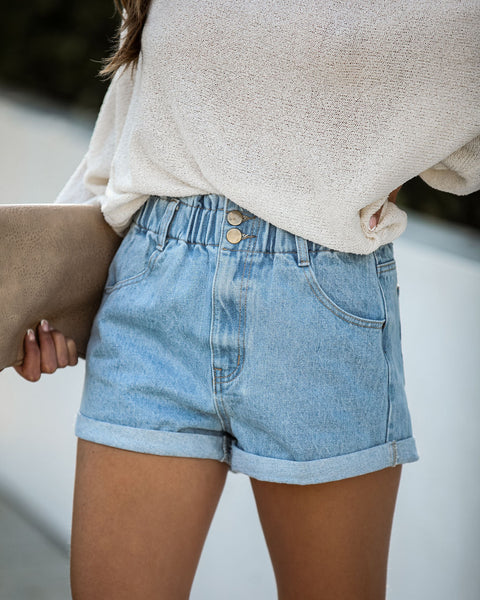 Think Twice Cuffed Denim Shorts