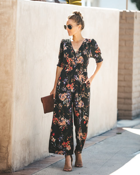 Fearless Floral Pocketed Jumpsuit