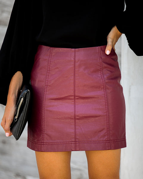 Idol Faux Leather Mini Skirt - Wine