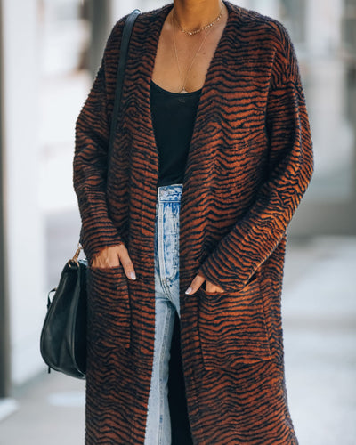 Montage Pocketed Zebra Duster Cardigan