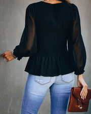 Polished Smocked Peplum Blouse - Black