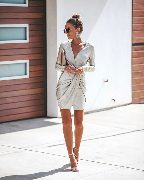 Luminescent Long Sleeve Twist Dress