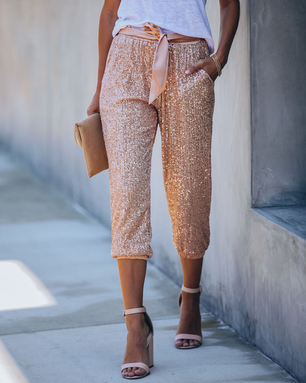 Rosie Pocketed Sequin Tie Joggers - FINAL SALE