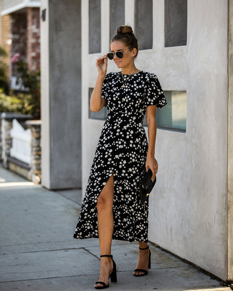 Exceed Expectations Floral Slit Midi Dress - FINAL SALE