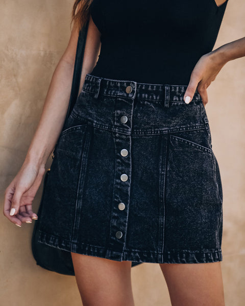 Valley Festival Button Front Denim Mini Skirt - FINAL SALE