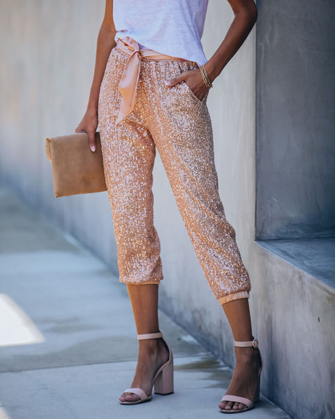 Rosie Pocketed Sequin Tie Joggers