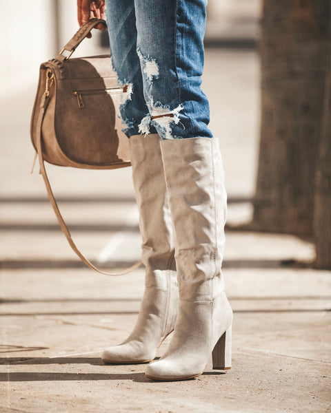 Journal Faux Suede Heeled Boot - Light Grey