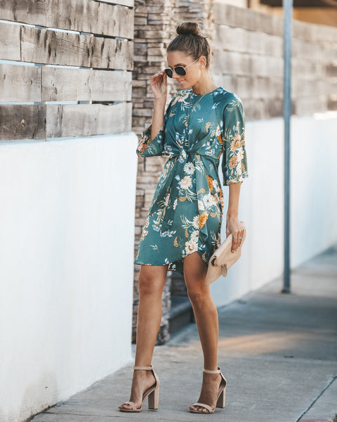 Esperanza Floral Tie Dress - Teal