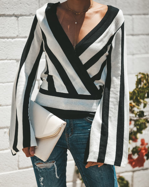 Risky Business Wrap Knit Top - FINAL SALE