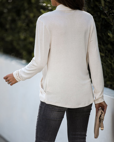 It's Been Awhile Drape Knit Sweater - Oatmeal