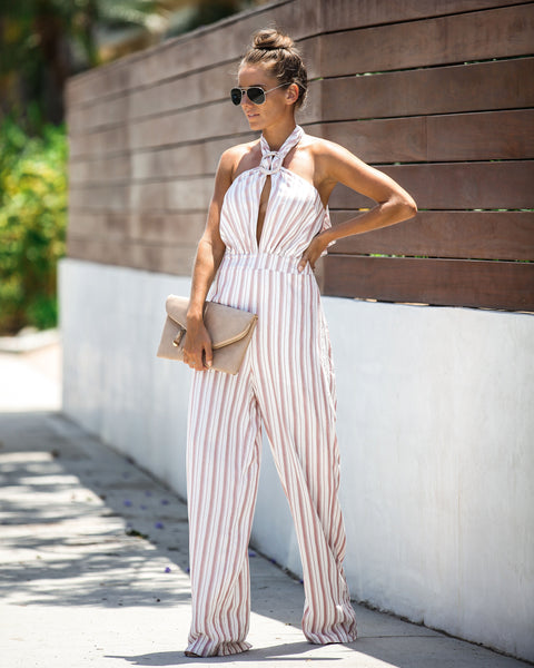 The Latest Striped Halter Jumpsuit - FINAL SALE