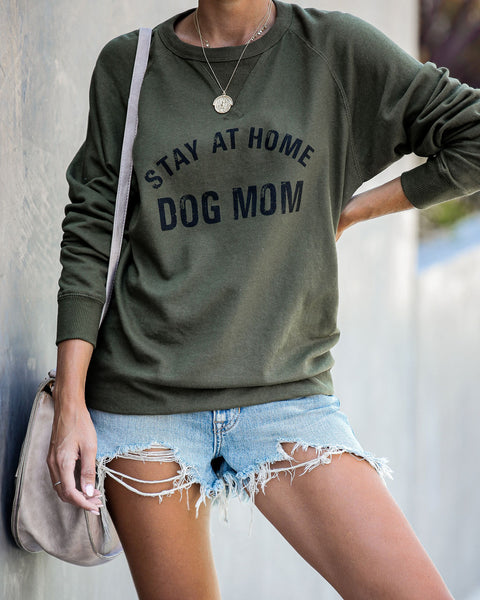Stay At Home Dog Mom Cotton Blend Pullover