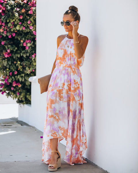 Regina Pocketed Tie Dye High Low Maxi Dress