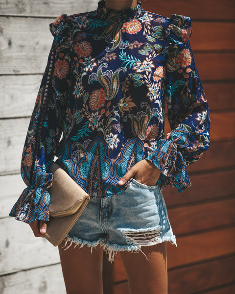Emulated Beauty Floral Ruffle Blouse