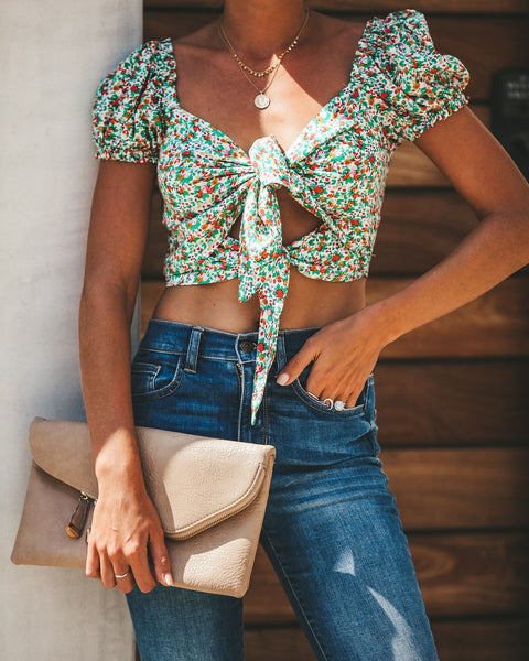 Cheery Floral Tie Crop Top
