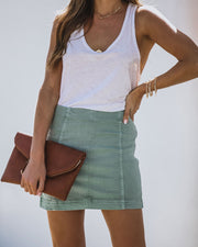 Kirby Cove Cotton Mini Skirt - Sage