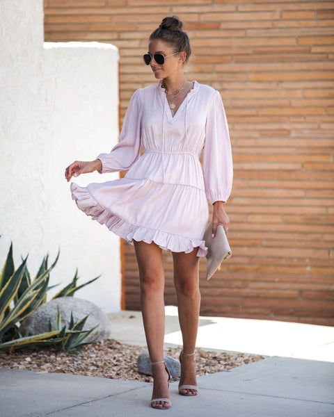 Millennial Pink Tiered Ruffle Dress - FINAL SALE