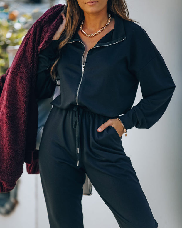 Athleisure Pocketed Knit Jumpsuit view 6