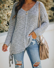 Sealed With A Bow Chunky Knit Sweater - Grey view 8