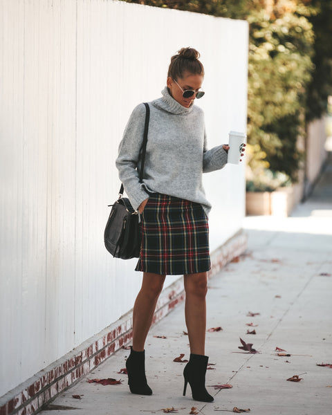 Sabrina Pocketed Plaid Mini Skirt