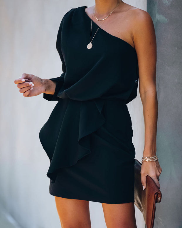Elite One Shoulder Ruffle Dress - Black - FINAL SALE