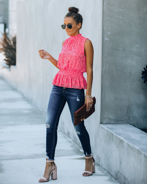 At First Blush Smocked Sleeveless Peplum Blouse