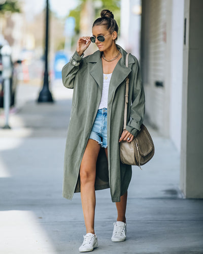 Channel Pocketed Lightweight Trench Coat