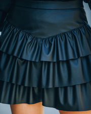 Gemstone Faux Leather Ruffle Tiered Mini Skirt - Black view 4