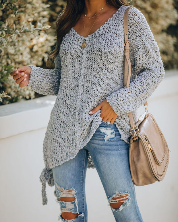 Sealed With A Bow Chunky Knit Sweater - Grey view 5