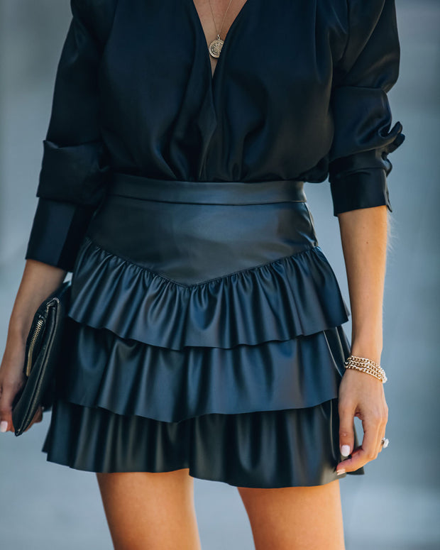 Gemstone Faux Leather Ruffle Tiered Mini Skirt - Black view 6