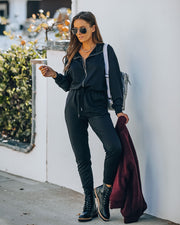 Athleisure Pocketed Knit Jumpsuit view 1