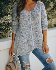Sealed With A Bow Chunky Knit Sweater - Grey view 7