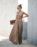 Euphoric Adjustable Halter Maxi Dress - Khaki - FINAL SALE