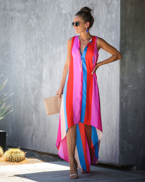 Own It Striped High Low Maxi Dress - FINAL SALE