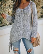 Sealed With A Bow Chunky Knit Sweater - Grey view 3
